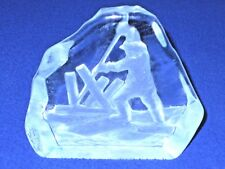 """Hand Made Swedish Crystal Paper Weight """"Pond Monkey"""" In A Sawmill Holding Pond"""