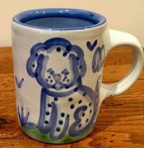 Vintage MA Hadley Country Scene Blue Dog Mug Flowers & Birds THE END Inside