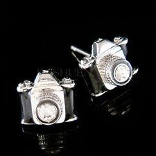 w Swarovski Crystal Black Camera Lens Photographer Photography Stud Earrings New