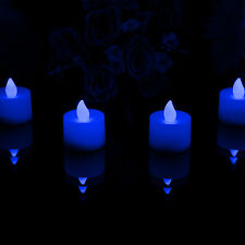 4 Blau LED Tee Lichter - Flameless flackernd Batterie Kerzen für Party