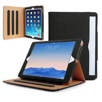 Black+TAN Genuine Leather Smart Stand Case Cover For Apple iPad 9.7 2017/2018