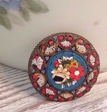 Antique Mosaic Brooch Vintage pin Made in Italy antique mosaic brooch NS1692