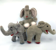 Elephant x 3 Mohair Wool and Plush one Schuco Trunk Up Luck 1950s 60s Germany