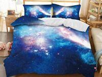 Beddinginn Blue Galaxy Starry Sky 3D Printed 3-Piece Comforter Sets