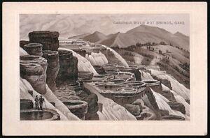 JERSEY COFFEE Dayton OH Vtg Victorian Trade Card Gardiner River Hot Springs ID