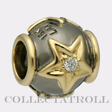 Authentic TrollBeads Silver & 18kt Gold Stars Diamond TrollBead   31809