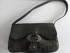"""GUESS Purse Handbag with big """"G"""" Faux Alligator Leather look Black"""