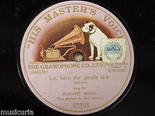 "78rpm 12"" DAME NELLIE MELBA lo here the gentle lark , single side HMV 03203 PINK"