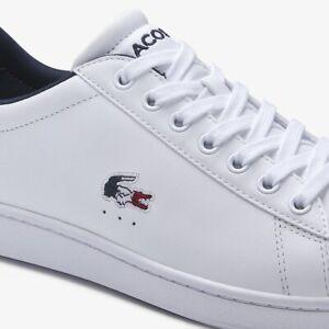 Lacoste mens Carnnaby Evo TRi 1 SMA white PREMIUM leather Trainers