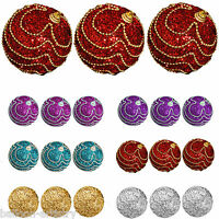 3 Christmas Elegant Waltz Round 8cm Glitter Baubles Tree Decorations