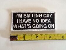 """No Idea What's Going On 3 1/2"""" Sew On Patch Biker Vest Jacket P1203"""