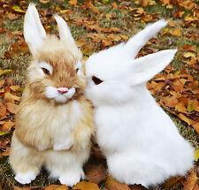 2 x Lifelike Realistic Sitting Rabbits Genuine Fur Furry Animal Bunnies Figurine