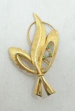 Elegant 18K Yellow Gold Triple Emerald Diamond Cut Feather Brooch Pin A7912