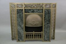 Early 1900s Fireplace Surround w Green Marble Antique Vintage Fire (10317)