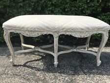Antique French Painted Bench Stool Brunschwig Fils Tiger Linen French Blue Gray