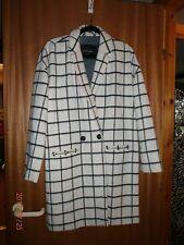 River Island Monochrome Check Coat, Size 14