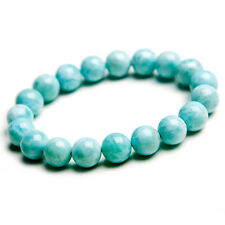 11mm Natural Rare Larimar Gemstone Stretch Round Beads Bracelet AAA