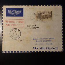 AVIATION LETTRE COVER PREMIER VOL PARIS ATHENES GRECE 1947