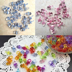 50 Pcs Mini Pacifiers Acrylic Clear Baby Shower Party Cute Favor Kids Game Decor