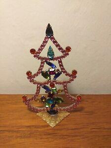 ANTIQUE CZECH CRYSTAL RHINESTONES CHRISTMAS TREE DECORATION ORNAMENT ORIGINAL