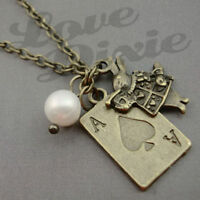 Alice in Wonderland Antique Gold Bronze Ace Card with Rabbit Necklace Kitsch