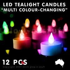 12 X LED FLICKER CANDLES MULTI COLOUR FLAMELESS TEA LIGHT PARTY WEDDING LANTERN