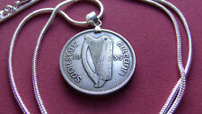 "Ireland 1935 Real Silver Florin Pendant  18kgf White Gold Filled Round 24"" Chain"