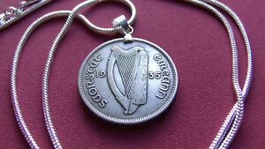 """Ireland 1935 Real Silver Florin Pendant  18kgf White Gold Filled Round 24"""" Chain"""