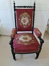 Antique Napoleon III Walnut Barley Twist Armchair With Original Tapestry, France