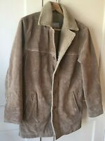 Wilsons Leather M. Julian Men's Tan Suede Leather Coat Sherpa Lined Jacket Sz M