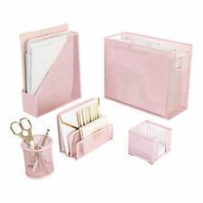 Blu Monaco 5 Piece Pink Office Supplies Desk Organizer Set With Desktop Han