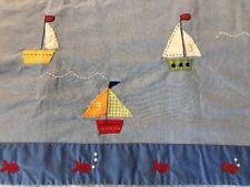 "Pottery Barn Kids Sailboat Nautical Blue Window Valance 18 x 44"" Lined"