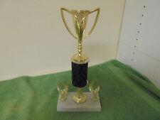 Vintage Gold Tone & Dark Wood Marble Bottom Trophy Base with 2 Side Eagles