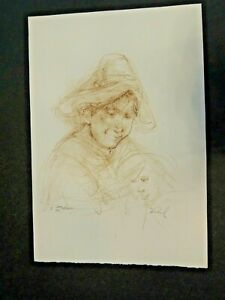 """Large Rare 15"""" by 11"""" Etched Lithograph by Edna Hibel"""