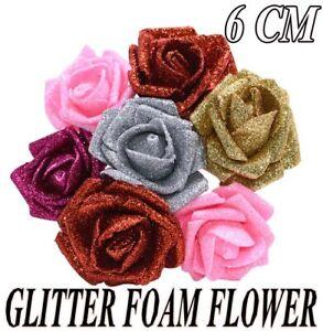 6CM FOAM ROSES Glitter Flower With Stem Artificial Wedding Bouquet Party UK