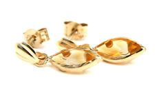 9ct Gold Citrine Drop Earrings Made in UK Gift Boxed Christmas Xmas Gift