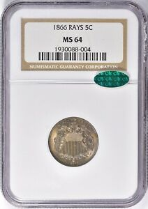 1866 Shield Nickel with Rays 5c NGC MS 64 CAC