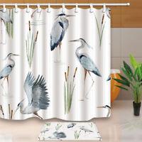 Bird Decor Watercolor Crane Bathroom Polyester Home Fabric Shower Curtain Set