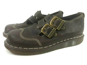 """Dr. Doc MARTENS """"CATE"""" Brown Leather Double Straps Mary-Janes Womens Shoes 7 US"""