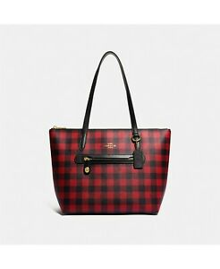 ❤️Coach Buffalo Plaid Print Red Taylor Tote In Original Packaging
