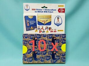 Panini WM 2018 Russia World Cup Sticker 10 x Megapack je 100 Tüten Sammelalbum