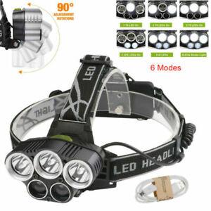 100000LM LED stirnlampe USB SCHEINWERFER Kopflampe TASCHENLAMPE