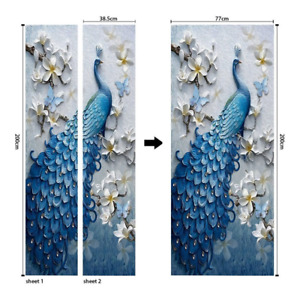 Self-Adhesive 3D Door Murals Sticker Peacock Pattern DIY Wallpaper Decal Poster
