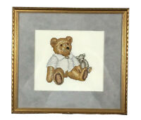 Framed completed needlepoint picture  teddy bears childs room decor 13 x 12