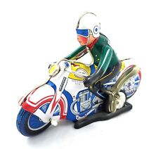 Motorcycle Rider Tin Litho Toy Wind Up Motion Reproduction Works