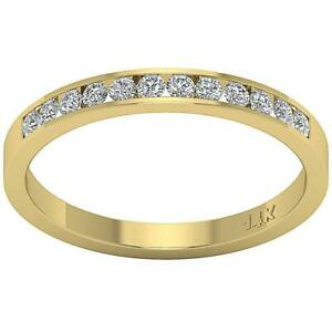 SI1 G 0.40 Ct Natural Diamond Engagement Stackable Ring Channel Set Yellow Gold