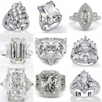 Dazzling 925 Sterlin Silver White Sapphire Gemstone Rings Wedding Women Jewelry