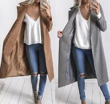 Women Winter Slim Warm Wool Lapel Long Coat Trench Parka Jacket Outwear Overcoat