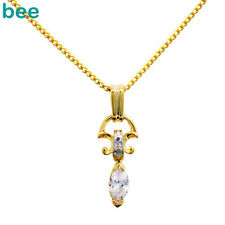 Marquise Simulated Diamond 9k 9ct Solid Yellow Gold Pendant