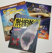 Boy New Book Bundle, Age 5+, Sharks, Cowboys, Space Planets,  3D, Stickers